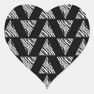 Monochrome Zebra Stripe Triangles on Black. Heart Sticker