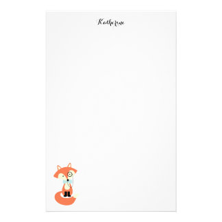 Monocle Hipster Red Fox Stationery