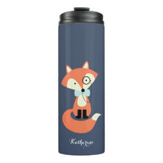 Monocle Hipster Red Fox Thermal Tumbler