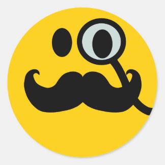 Monocle & Mustache Smiley (Customizable backgrnd) Classic Round Sticker