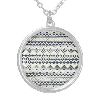 Monocromatic Tribal zigzag triangular pattern Round Pendant Necklace