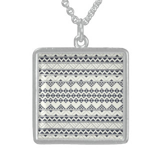 Monocromatic Tribal zigzag triangular pattern Square Pendant Necklace