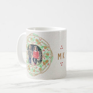 Monogram 2 Photo Collage | Winter Pine Cone Wreath Coffee Mug