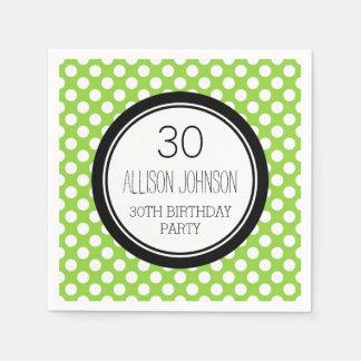 Monogram 30th Birthday Napkin Lime Dots Disposable Napkin