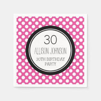 Monogram 30th Birthday Napkin Pink Dots Paper Napkins
