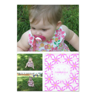 Monogram: 3 Pictures: Pink Daisy Invitation