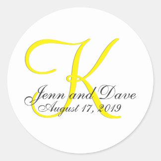 Monogram 3d Wedding Favor Classic Round Sticker