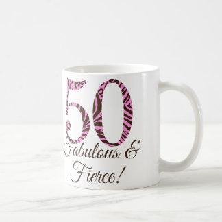 Monogram 50th Birthday Fabulous & Fierce Mug