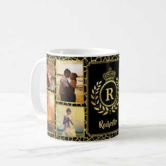 Monogram 8 Photo Collage | Royal Crown Gold Laurel Coffee Mug