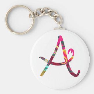 Monogram A Basic Round Button Key Ring
