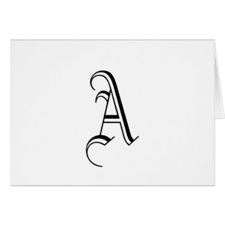 "Monogram ""A"" Card _Customizable_Black and White"
