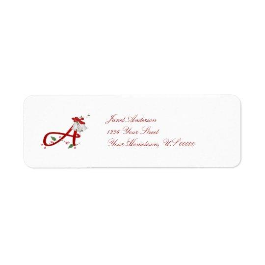 Monogram A Christmas Bells Return Address Label