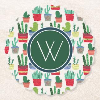 Monogram | A Crowd of Cactus Paper Coaster