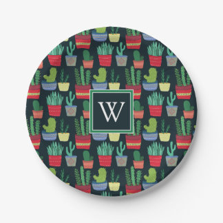 Monogram | A Crowd of Cactus Paper Plate