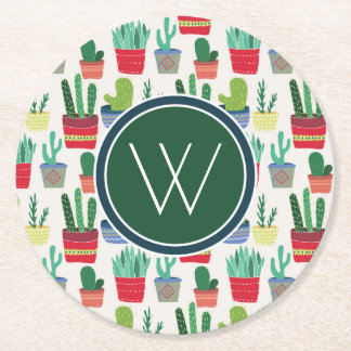 Monogram | A Crowd of Cactus Round Paper Coaster