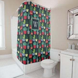 Monogram | A Crowd of Cactus Shower Curtain