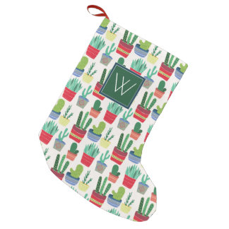 Monogram | A Crowd of Cactus Small Christmas Stocking