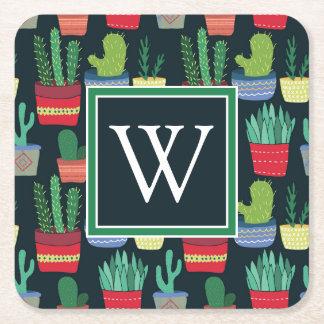 Monogram | A Crowd of Cactus Square Paper Coaster
