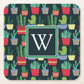 Monogram | A Crowd of Cactus Square Paper Coaster