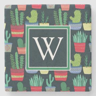 Monogram | A Crowd of Cactus Stone Coaster