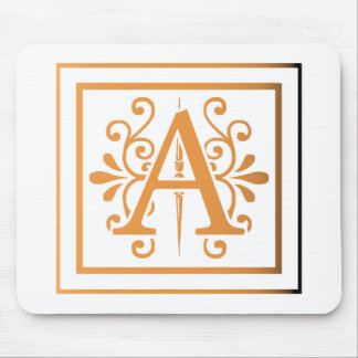 MONOGRAM A GOLD TO BLACK GRADIENT MOUSE PAD