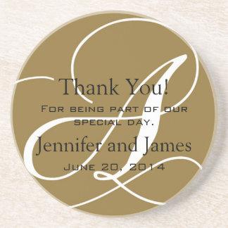 Monogram A Gold White Wedding Favour Coasters