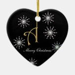 Monogram A Heart Shaped Christmas Snowflakes Double-Sided Heart Ceramic Christmas Ornament