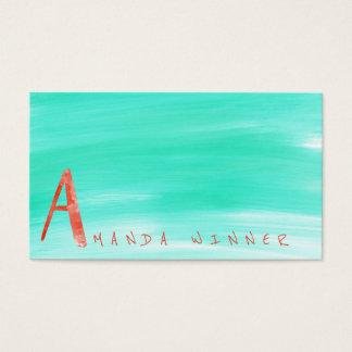 Monogram A Minimalism Mint Watermelon Aquarelle Business Card
