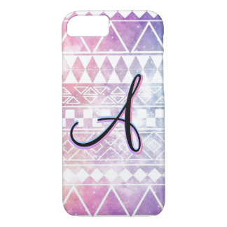 "Monogram ""A"" on a Pastel, Chevron, Galaxy. iPhone 7 Case"