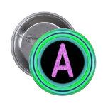 """Monogram """"A"""" Pinback Button"""