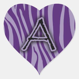 Monogram A Purple Zebra Stripes Heart Sticker