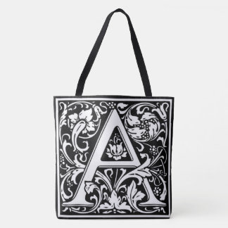 Monogram A Reversible B&W Tote Bag All-Over Print