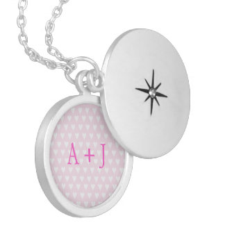 Monogram A sweethearts initials pink love hearts Locket Necklace