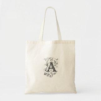 "Monogram ""A"" Tote Canvas Bag"