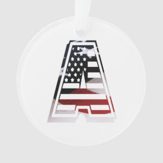 Monogram A USA Flag American Initial Ornament