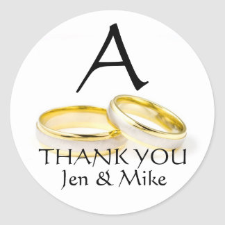 Monogram A Wedding Rings Thank You Favour Sticker
