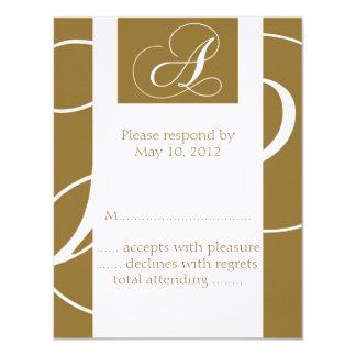 Monogram A Wedding RSVP Card Gold 11 Cm X 14 Cm Invitation Card