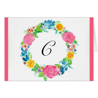 Monogram-able Note Cards with watercolor wreath
