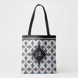 Monogram abstract blue and yellow diamond pattern tote bag