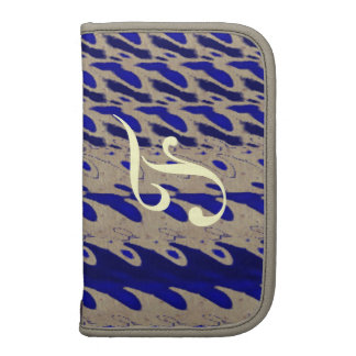 Monogram Abstract Blue waves Folio Planners