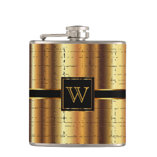 Monogram Abstract Gold Design Hip Flask