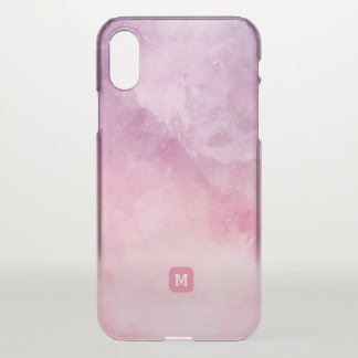 Monogram. Abstract. Shades of Pink Watercolor iPhone X Case