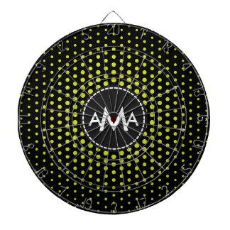 Monogram Acid Green Techno Dots Modern Dartboard