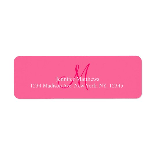 Monogram Address Labels Pink