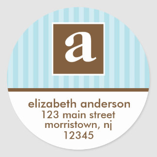 Monogram Address Labels Round Sticker