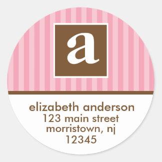Monogram Address Labels Round Stickers