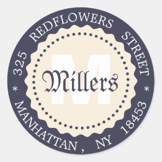 Monogram address sticker