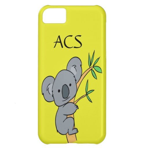 Monogram Adorable Koala On A Yellow Background Case For iPhone 5C