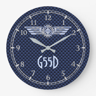 Monogram Air Pilot Silver Wings Compass Blue on a Large Clock