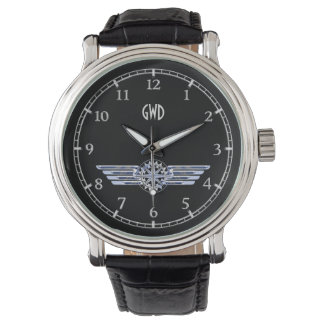 Monogram Air Pilot Silver Wings Compass on Black Watch
